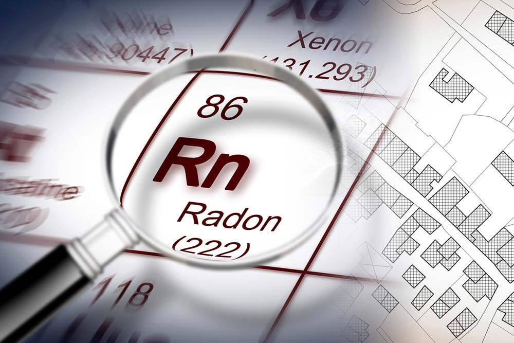 periodic table of the elements, magnifying lens focusing on Radon